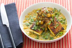 Curried Tofu with Husk Cherry Chutney & Masoor Dal. Visit http://www.blueapron.com/ to receive the ingredients.