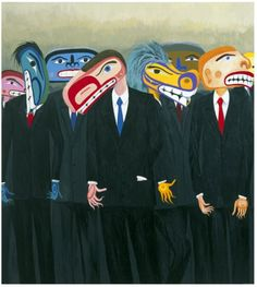 Lawrence Paul Yuxweluptun : Multinational Mercenaries: Global Destroyers, Soldiers of Fortune, the New World Order?, acrylic on canvas) Native American Artwork, Native American Artists, Drums Logo, Contemporary Art Artists, Big Sea, Native Art, Native Style, Virtual Art, Canadian Art