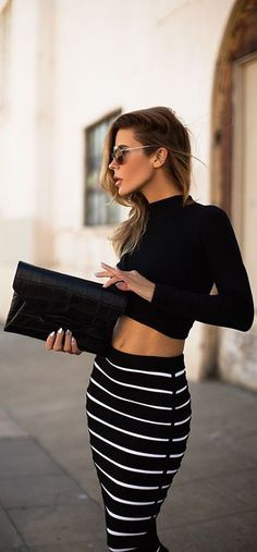 street style crop top + black and white stripes @wachabuy