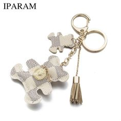 15ecc761750d48 Key Chain Accessories Tassel Key Ring PU Leather Bear Pattern Car