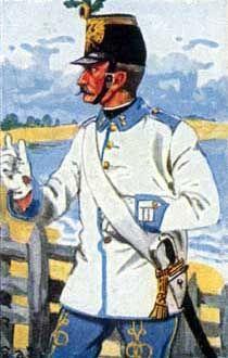 Österreich-Ungarn 1864: Korporal d. Inf.-Rgts. Nr. 72. Die Abzeichen waren lichtblau und gelbe Knöpfe. Der Eichenstutz am Tschako, das alte Kriegszeichen Österreichs, wurde auch im dänischen Feldzug getragen.