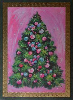 Vintage UNUSED Christmas Card GLITTER TREE ORNAMENTS PINK Mid-Century