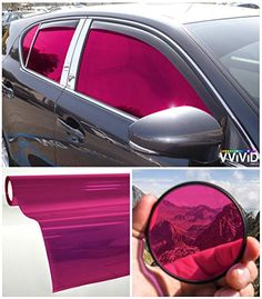Applied to windows, this film blocks of harmful UV rays and glare while also adding bold color and style to your car. Adhesive-backed vinyl sheets are incredibly easy to install and remove. Includes 2 rolls of x vinyl! Pink Car Accessories, Vehicle Accessories, Car Interior Decor, Pink Car Interior, Girly Car, Car Mods, Car Gadgets, Living At Home, Unique Cars