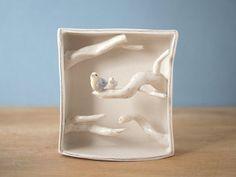 birds porcelain box sculpture by villarrealceramics on Etsy, $70.00