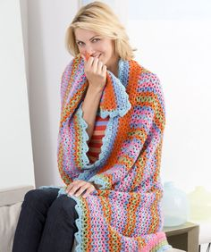 Rickrack Stripes Throw Crochet Pattern  #crochet  #afghan  #throw