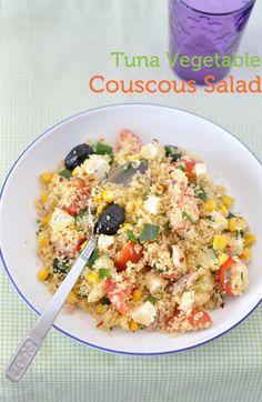 couscous salad w tuna, olives, feta