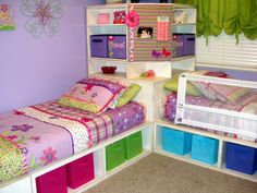 Cute White Built In Beds Custom Design With Shelving For Dress Basket In Purple Tiny Bedroom Designs
