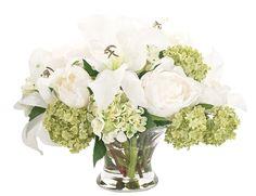 Lily Peony Snowball (GF090): Lily Peony Snowball, Green White, Glass Bowl, 16wx14dx13h