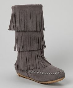 {Gray Fringe Boot by Shoes of Soul} Cute...
