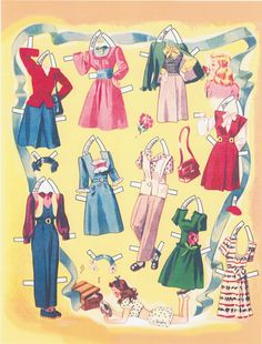 Sweet Sixteen Paper Dolls (7 of 10), 1942 Merrill #1398, restored 2011 Forget-Me-Not
