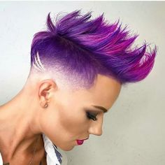 Purple Faded Pixie Hawk Haircut By 💯💈💜 Short Hair Cuts, Short Hair Styles, Edgy Short Hair, Short Undercut, Corte Pixie, Shaved Hair Designs, Corte Y Color, Hair Tattoos, Haircut And Color