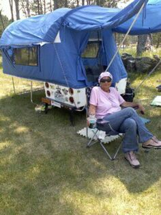 In black hills with pull behind motorcycle camper