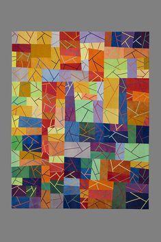 "Sgabello 4 Firecracker, 48.5 x 62.5"", by Sandra Palmer Ciolino. Cotton hand-dyed fabrics by Virginia Keiser."