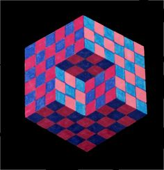 8th - Op Art Cubes - A cube sitting within three walls or a cube with a corner…