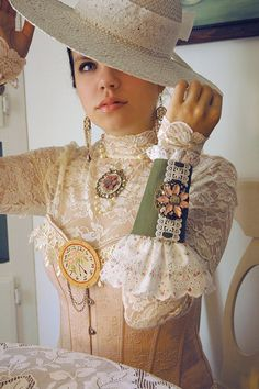 Steampunk Victorian Tea Party Cuffs with Shabby Chic Eyelet Lace and Steampunk Clock by bionicunicorn