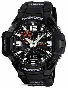 623c066c3db Casio G-Shock Mens G-Aviation Neon Illuminator - Twin Sensor - Black Resin