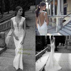 Berta Lace Wedding Dresses,Deep V Backless Mermaid Court Train Wedding Bridal Dresses Gowns on Etsy, $399.00