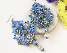 Macrame earrings, serenity, beaded statement, long, micro-macrame jewelry, beadwork, beadwoven, pale blue silver gold, lace, dressy, elegant