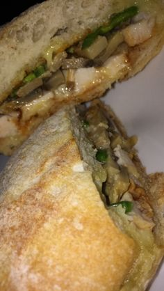 Artisanal sandwich stuffed with cheese, grilled chicken, mushrooms, sweet peppers & oh, did I say cheese already? Mushroom Pasta, Chicken Mushrooms, Stuffed Mushrooms, Fast Food Pasta, Snap Food, Food Snapchat, Stuffed Sweet Peppers, Aesthetic Food, Food Cravings