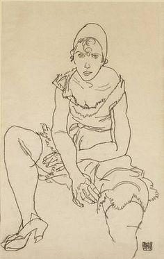 artnet Galleries: Girl in Underclothes by Egon Schiele from Richard Nagy Ltd.