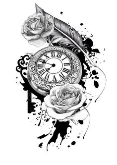 Pocket Watch Tattoo Design::