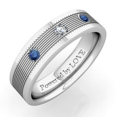 Mens Sapphire Wedding Band in 14k White Gold 4mm by LaMoreDesign