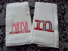 Great Shower/Baby Gift - A set of personalized burp clothes