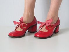 vintage 1970s Shoes / Cut Out Shoes / Red by TheVintageMistress, $48.00