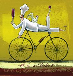 chef on bicycle Pictures For Kitchen Walls, Chefs, Chef Kitchen Decor, Bike Illustration, Bicycle Painting, Africa Art, Retro Images, In Vino Veritas, Le Chef