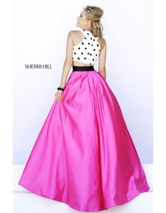 Sherri Hill 32210 In Stock Ready to Ship in Ivory/Black/Fuchsia and sizes 00, 2, 4, 6