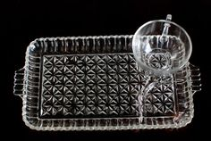 Vintage Crystal Tea Cups and Plates Patio Set Service of 4 WithThree Sections Diamond Shape Floral Motif Circa 50's Chic Modern