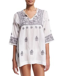 Andronis+Half-Sleeve+Embroidered+Tunic+Coverup,+White/Frost+by+florabella+at+Neiman+Marcus.