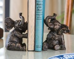 Bronze Iron Elephant Bookends, 2 Sets