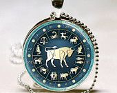 Taurus Necklace Zodiac Jewelry Astrological Sign Bull April May Birthdays Astrology Art Pendant with Ball Chain Included (ITEM B112)