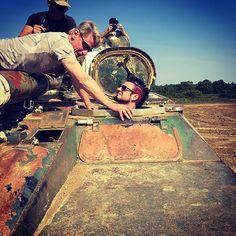 Tank training on the day off in Birmingham! #FiveFingerDeathPunch #5FDP #JasonHook #TankBusting