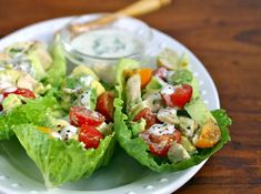 Chicken & avocado lettuce boats with buttermilk Dijon dressing, from The Perfect Pantry.