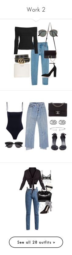 """Work 2"" by desyvaz ❤ liked on Polyvore featuring Ray-Ban, Monki, Chloé, Yves Saint Laurent, Aquazzura, H&M, Gucci, Chanel, Stuart Weitzman and NARS Cosmetics"