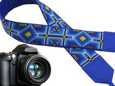 Ethnic camera strap. Tribal camera strap. Blue, black, yellow replacement strap for mirrorless, DSLR, SLR cameras. Bright, eye catching!  00298