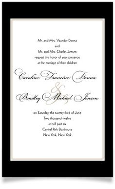 Wedding invitations. I want something simple yet classic like this. with a touch of green in there somewhere. like our names.