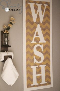 DIY Wall Art Chevron and Burlap: Easy DIY Bathroom Decor Ideas. These DIY bathroom ideas are perfect for renters and people on a budget. Transform your small bathroom with these classy & easy ideas! Rustic Bathroom Decor, Bathroom Art, Bath Decor, Bathrooms, Bathroom Ideas, Small Bathroom, Chevron Bathroom, Downstairs Bathroom, Chevron Wall Art