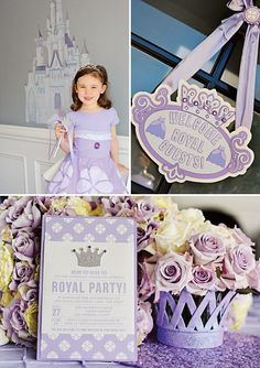 A Sofia the First Birthday Party with 3D paper castle centerpieces, castle shaped pb&j sandwiches, tiara topped cake, royal art studio crafts + more...