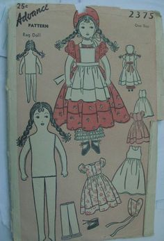 Vintage Sock Doll Pattern ~ Boy /& Girl Bunny Suits