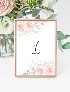 Pink Table Number Card Template, Wedding Table Number Card, Printable Bridal Seating Card, 100% Editable,Printable DIY Seating Card Template