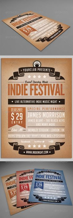 Indie Festival Flyer Poster — Photoshop PSD #flyer #gigs • Available here → https://graphicriver.net/item/indie-festival-flyer-poster/5064651?ref=pxcr