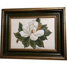 Roberts, Still Life White Gardenia Flower Watercolor Painting Signed by Artist