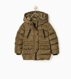 ZARA - KIDS - Quilted coat with faux fur hood