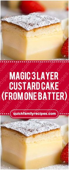 Frugal Food Items - How To Prepare Dinner And Luxuriate In Delightful Meals Without Having Shelling Out A Fortune Magic 3 Layer Custard Cake From One Batter Magic Cake Recipes, Homemade Cake Recipes, Best Dessert Recipes, Fun Desserts, Baking Recipes, Sweet Recipes, Delicious Desserts, Fudge Recipes, Magic Custard Cake