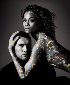 Avatar publicity image of Sam Worthington with Zoe Saldana