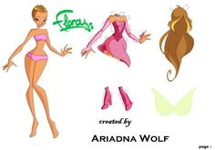 Winx Club Flora paper doll with clothes Winx Club, Paper Dolls Clothing, Paper Clothes, Flora Pattern, Anime Dress, Different Seasons, Disney Dolls, Paper Toys, Craft Patterns