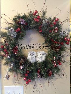 Custom Order -- Natural Woodland Theme Christmas Wreath with Gray Owls -- SOLD  https://www.facebook.com/Kattfish-Kreations-659509324079375/